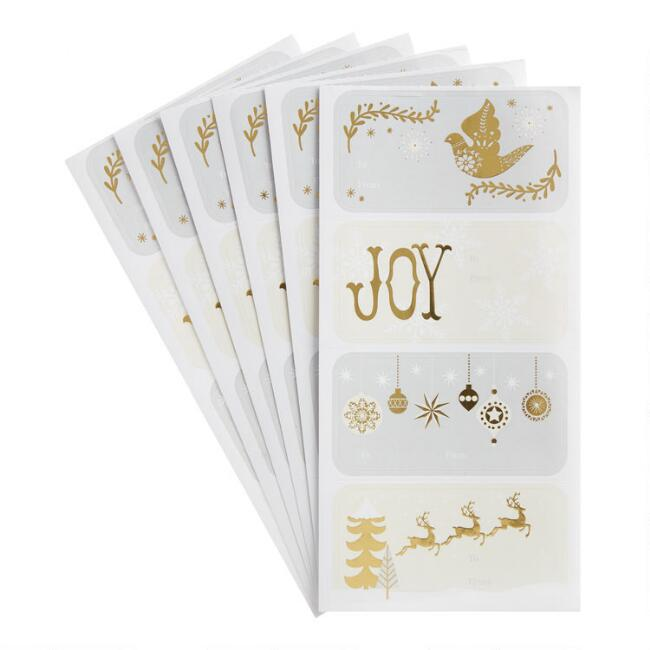 Gold Foil Holiday Adhesive Gift Labels 24 Count