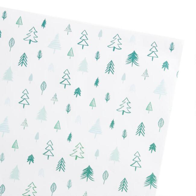 Green And Blue Tree Holiday Gift Wrap