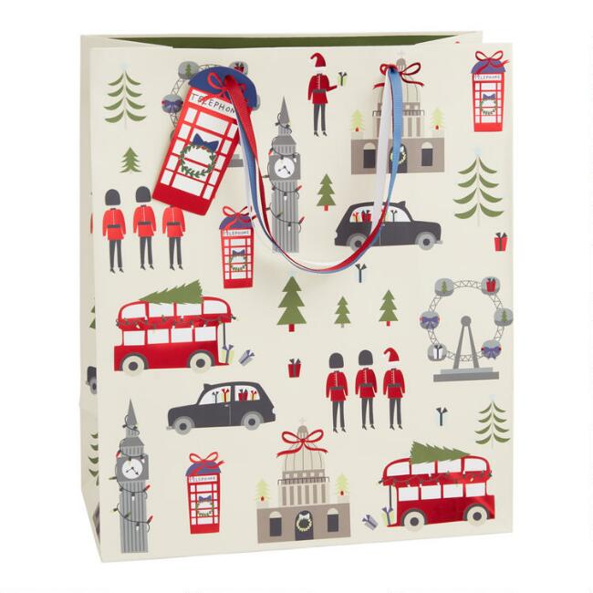 Large Red Foil London Holiday Gift Bag