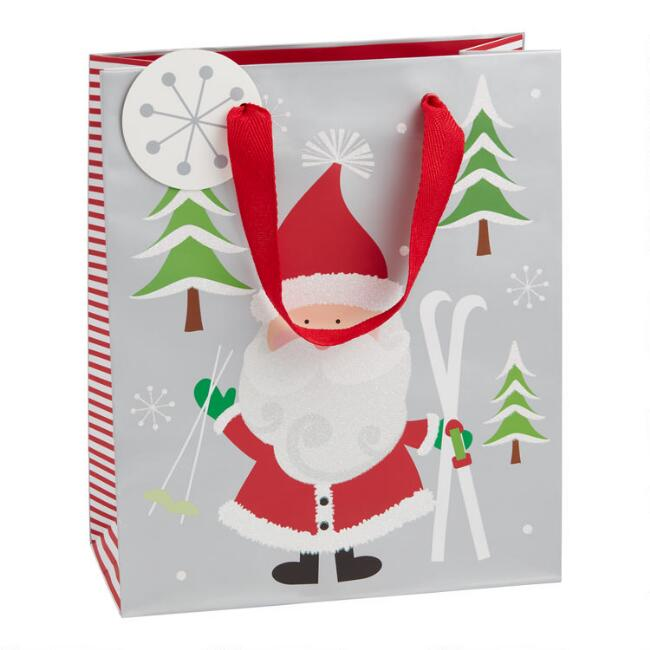 Medium Santa And Trees Holiday Gift Bag