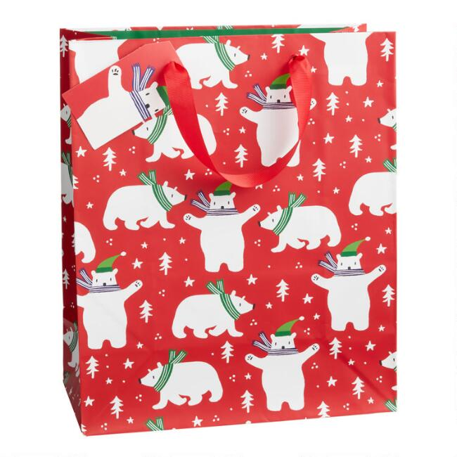 Large Red Polar Bear Holiday Gift Bag