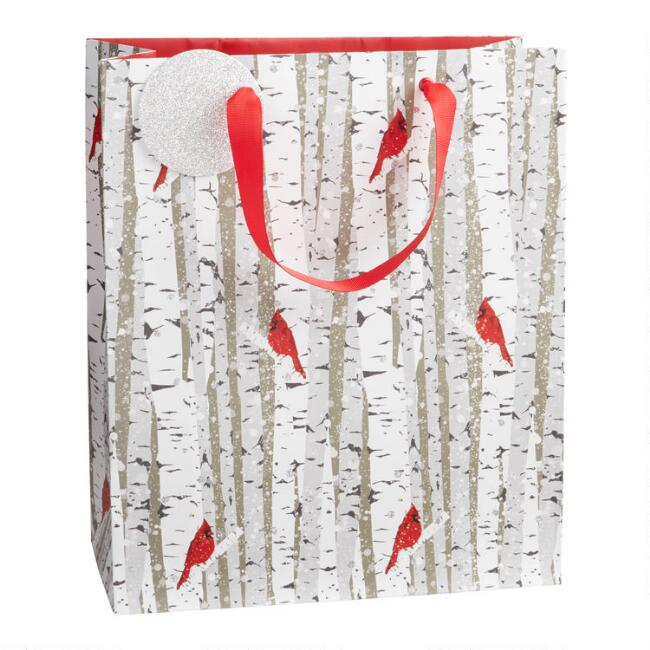 Large Trees And Birds Holiday Gift Bag