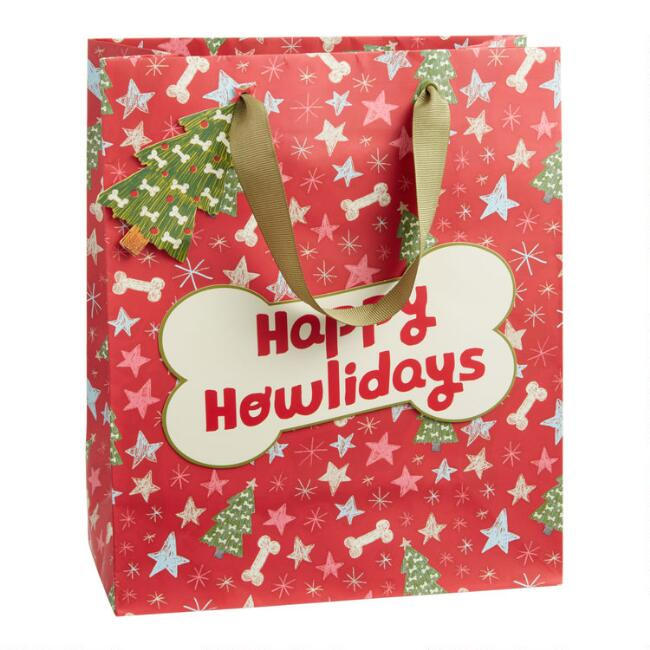Medium Happy Howlidays Dog Bone Holiday Gift Bag