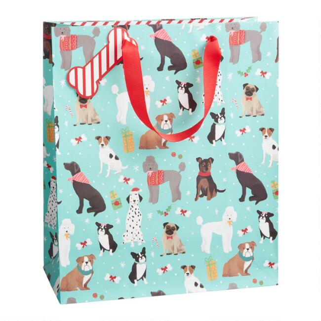 Large Blue Dogs Holiday Gift Bag