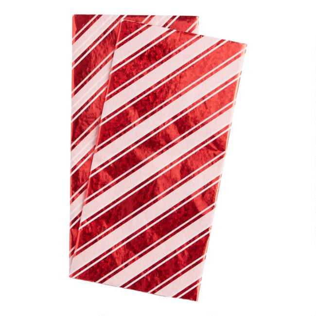 6 Pack Red And White Foil Candy Stripe Tissue Paper Set Of 2