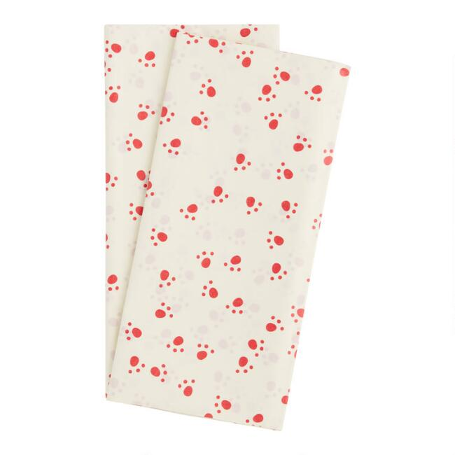 4 Pack Cream And Red Paw Print Tissue Paper Set Of 2