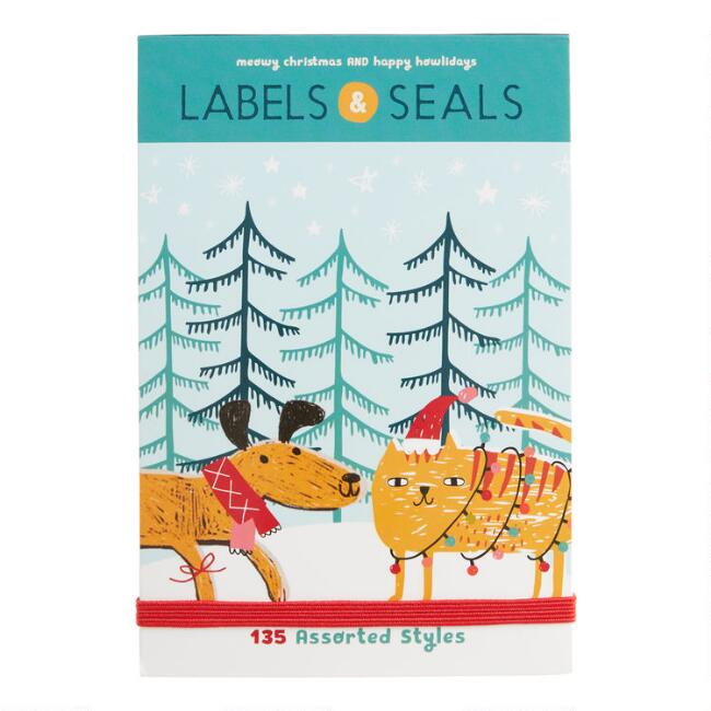 Dogs And Cats Holiday Adhesive Gift Labels And Seals