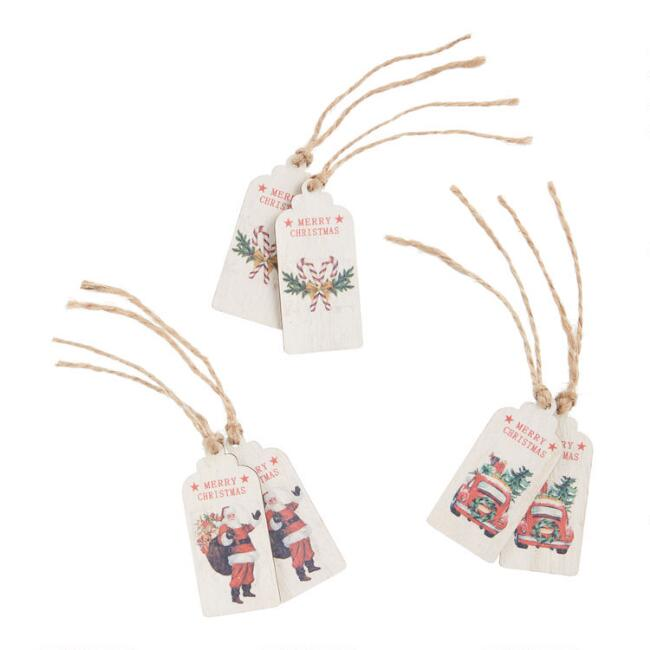 Wood Vintage Christmas Gift Tags 6 Pack