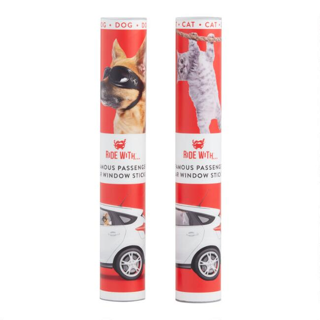 Riding With Cat and Dog Car Window Sticker Set of 2