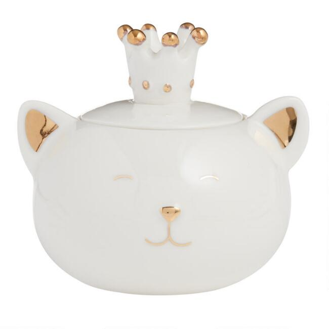 White and Gold Porcelain Cat Trinket Dish with Lid
