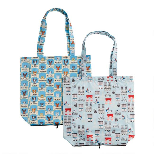 Paris and Dog Foldable Tote Bags Set of 2