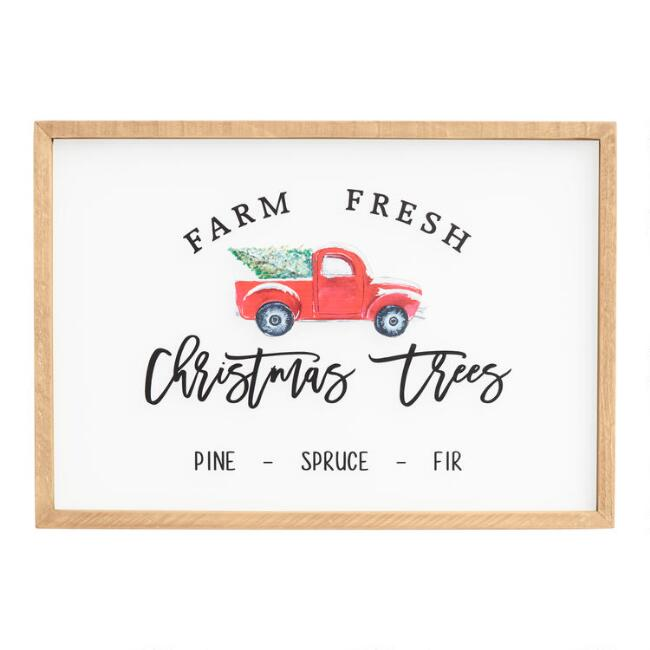 Farm Fresh Christmas Tree Truck Glass Pane Wall Decor