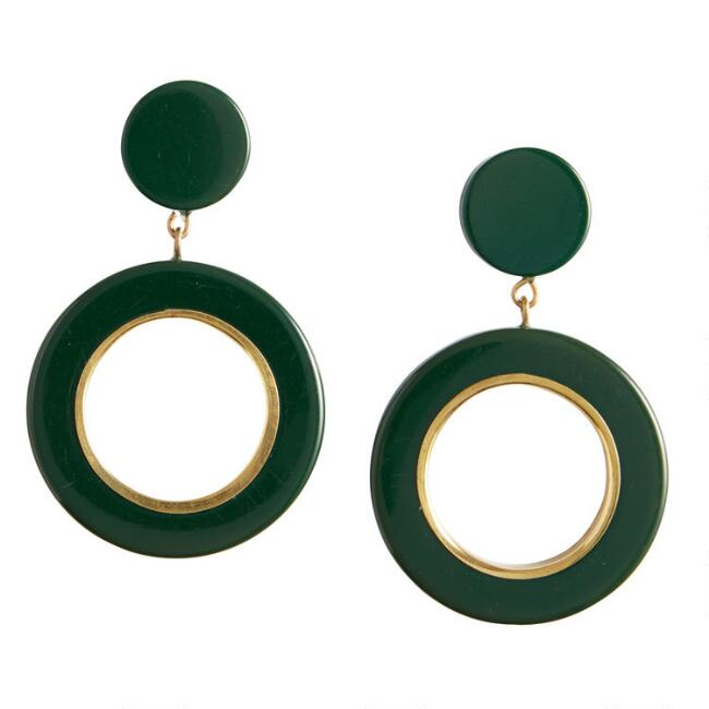 Pine Green And Gold Acrylic Hoop Drop Earring