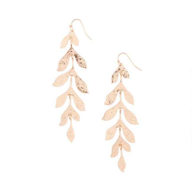 Gold Textured Long Leaf Dangle Earrings