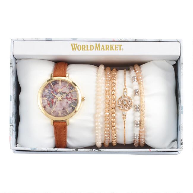 Brown World Map Watch And Bracelet Gift Set