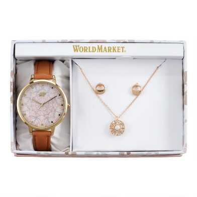 Tan Feather Watch And Bracelet Gift Set