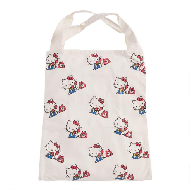 Large Retro Hello Kitty Canvas Tote Bag