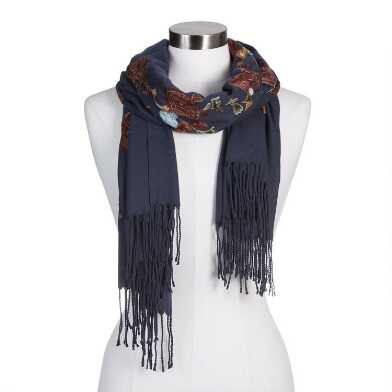 Navy Blue Floral Embroidered Scarf