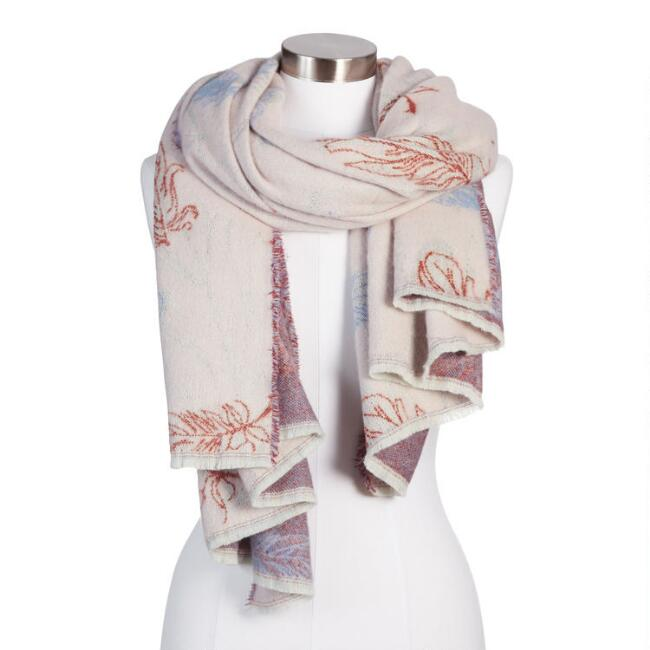 Lavender Floral Brushed Reversible Scarf