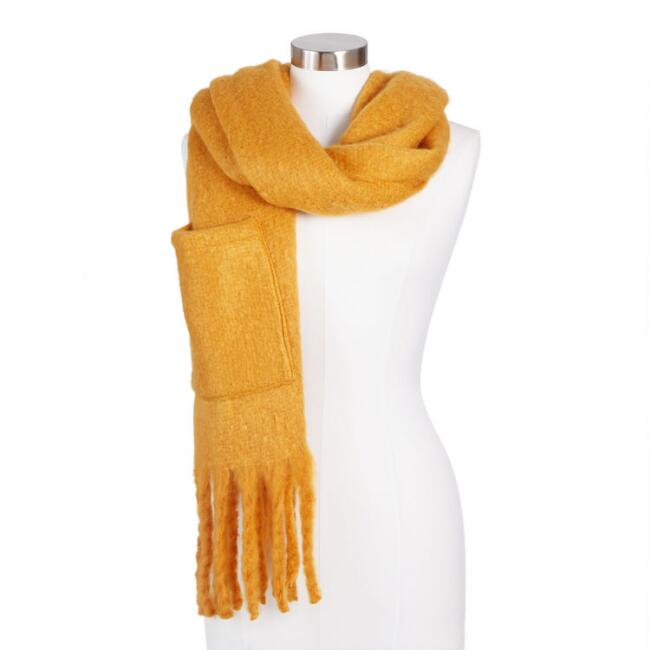 Mustard Blanket Scarf With Pockets