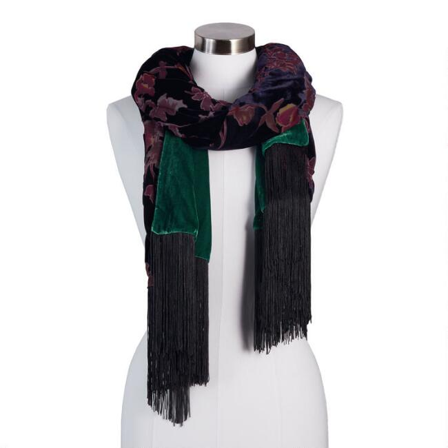Purple Velvet Floral Burnout Reversible Scarf