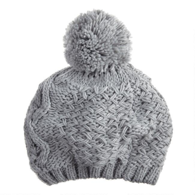 Gray Cable Knit Chenille Beret With Pom