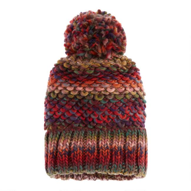 Multicolored Chunky Loop Knit Beanie With Pom