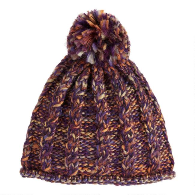 Multicolored Space Dyed Chunky Knit Beanie With Pom