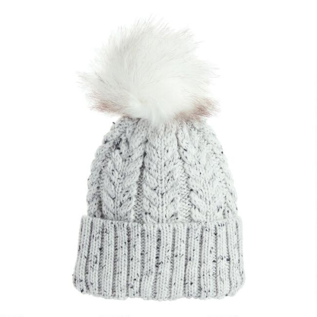Feather Gray Marled Beanie With Pom