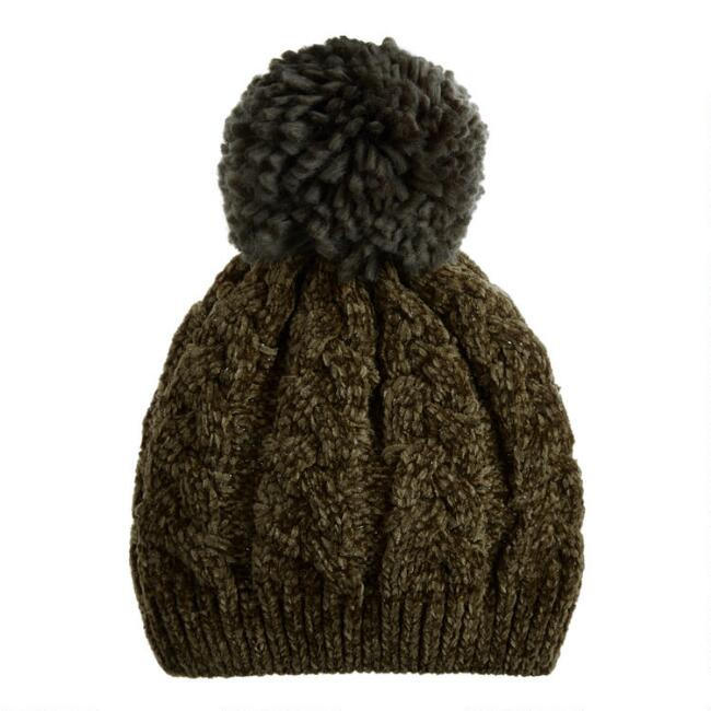 Olive Chenille Beanie With Oversized Pom