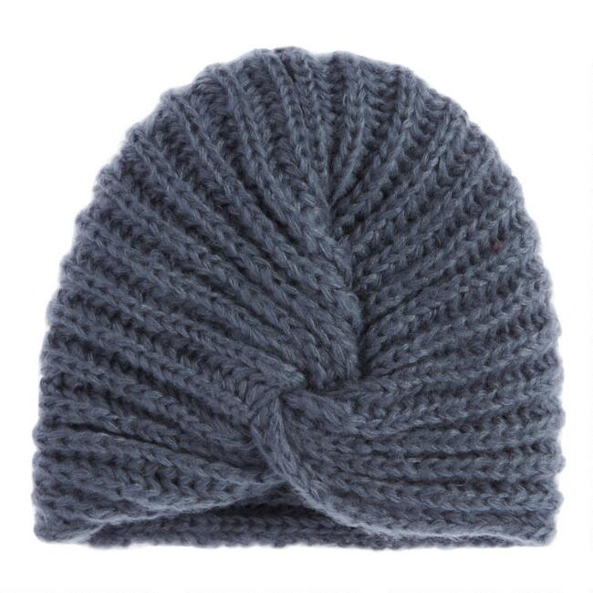 Dusty Indigo Turban Style Knit Hat