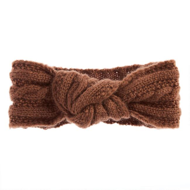 Rust Cable Knit Knot Head Warmer
