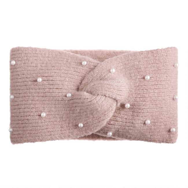 Blush And Faux Pearl Beaded Head Warmer