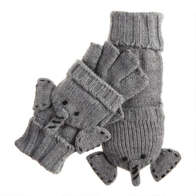 Gray Elephant Knit Convertible Gloves