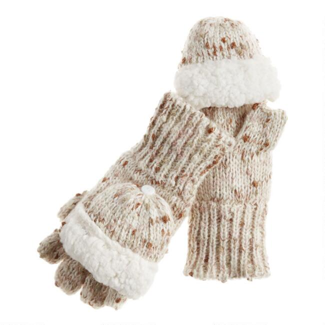 Ivory Knit and Faux Sherpa Convertible Gloves