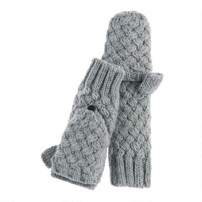 Marled Gray Knit And Faux Sherpa Convertible Gloves