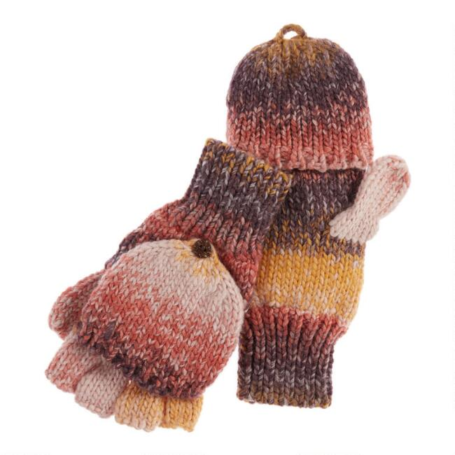 Orange And Terracotta Ombre Convertible Gloves