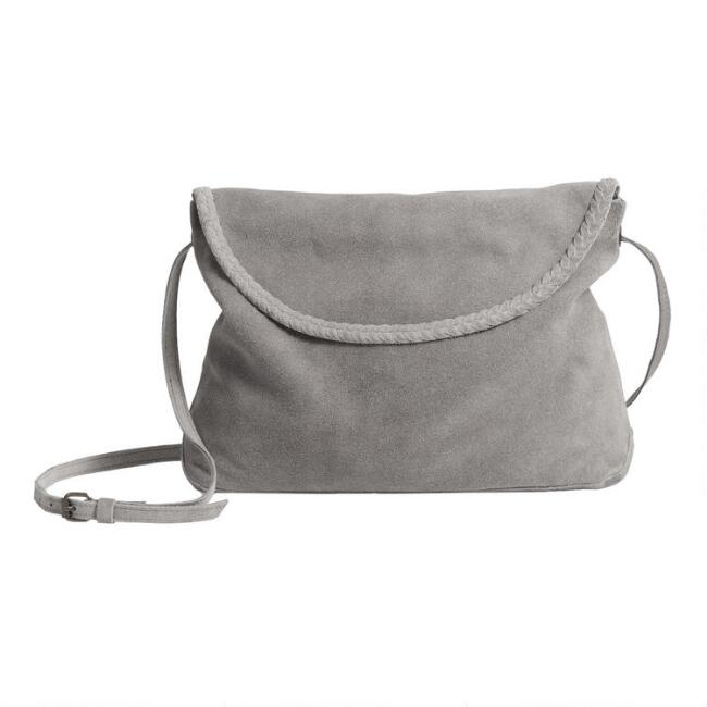Gray Suede Slouchy Crossbody Bag