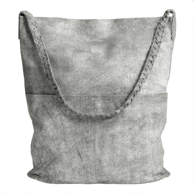 Gray And Silver Brushed Braided Suede Tote Bag