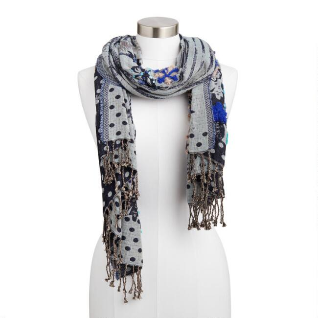 Blue Paisley Overstitched Jacquard Blanket Scarf
