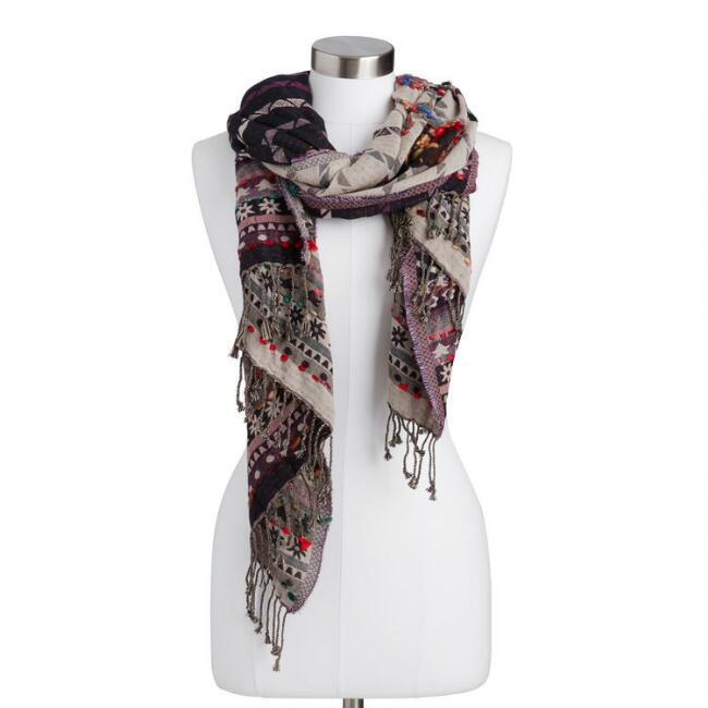 Multicolored Floral Overstitch Jacquard Blanket Scarf