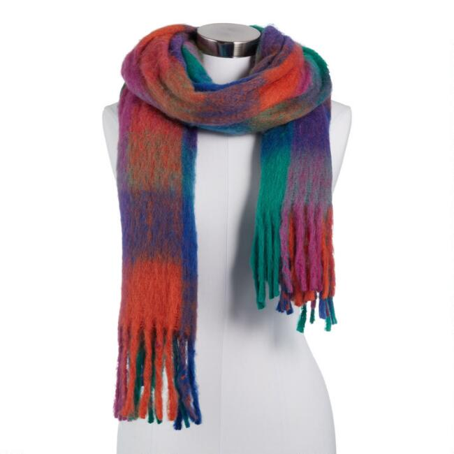 Multicolored Plaid Brushed Blanket Scarf