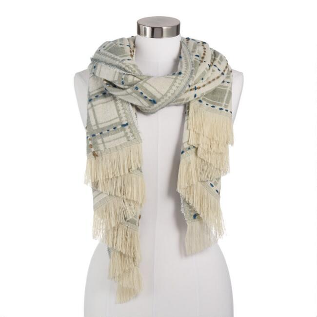 Dusty Mint And Taupe Overstitch Scarf
