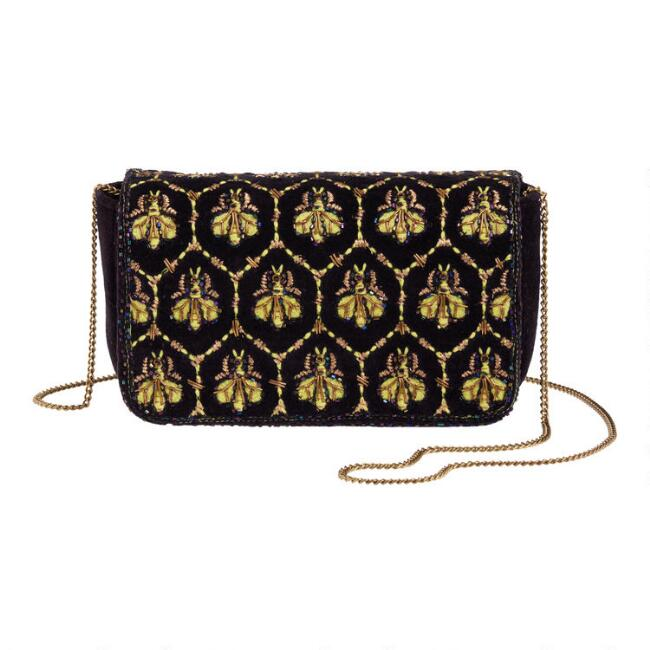 Navy Blue And Gold Bee Embellished Crossbody Bag