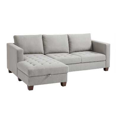 Gray Left Facing Trudeau Sectional Sofa with Storage