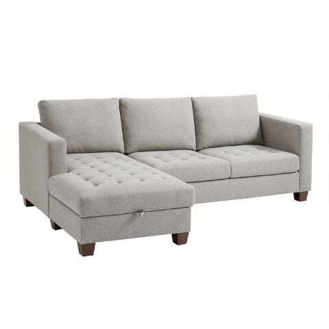 Strange Gray Left Facing Trudeau Sectional Sofa With Storage Theyellowbook Wood Chair Design Ideas Theyellowbookinfo