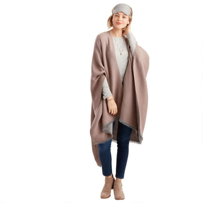 Taupe And Gray Pleated Travel Wrap 3 Piece Gift Set