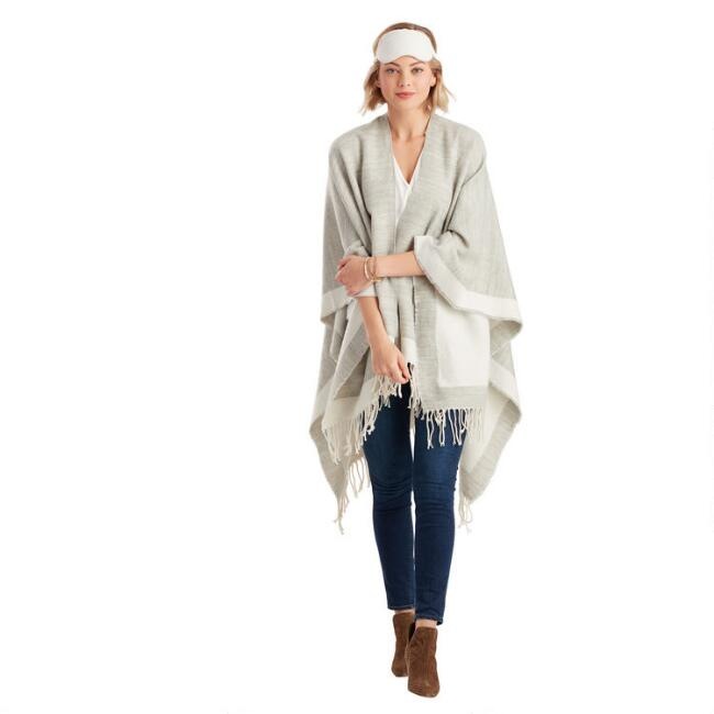Heather Gray And Ivory Travel Wrap 3 Piece Gift Set