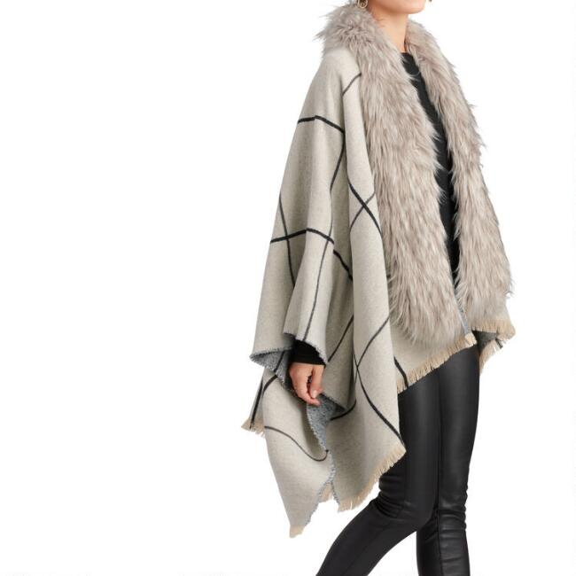 Ivory And Gray Windowpane Plaid Wrap With Faux Fur Collar