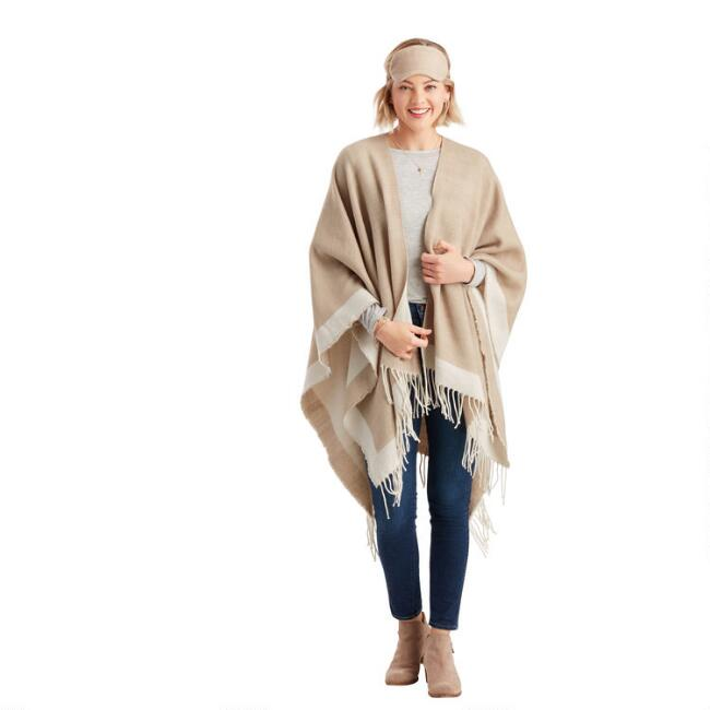 Heather Tan And Ivory Travel Wrap 3 Piece Gift Set